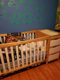 Crib with change table attached