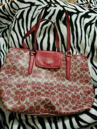 brown and pink monogrammed Coach leather tote bag North Plainfield