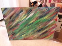 green, red, and yellow abstract painting