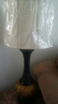 black and brown base table lamp with lamp shade