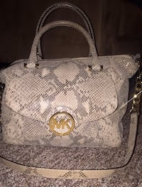 Michael Kors gray and black snakeskin leather 2-way bag