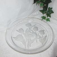 "Large Glass Serving Platter 13 4/4"" Tulips Tray Heavy Mississauga"