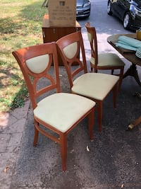two brown wooden framed white padded chairs Fairport, 14450