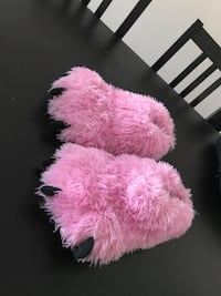 pink and white fur textile