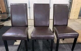 3 leather faux chairs