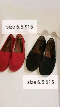 pair of red and black slip-on shoes Edmonton, T5X 5V2