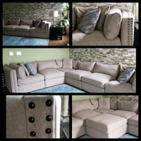 gray suede sectional sofa with throw pillows Upper Marlboro, 20772