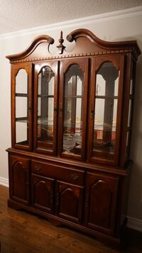 brown wooden framed glass china cabinet Richmond Hill