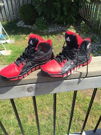 Red-and-black Adidas high top basketball shoes, size 10