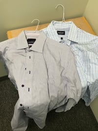 gray and white-and-blue gingham dress shirts