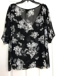 Black and white floral long sleeve shirt Frederick, 21702