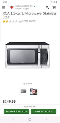 BRAND NEW RCA 1.1 CU FT STAINLESS STEEL MICROWAVE ONLY $110!  Toronto, M1P