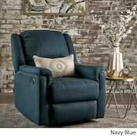 Navy Blue Tufted Fabric Swivel Gliding Recliner Ch Los Angeles, 90039