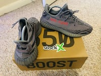 pair of gray Adidas Yeezy Boost 350 V2 with box Houston, 77075
