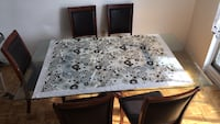 Five chairs dinning table glass, only used it for 5/6 months Toronto, M9A 4Y1