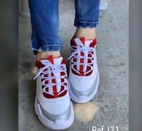 pair of white-and-red Nike basketball shoes Bensenville, 60106