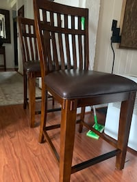 "Two 24"" Slat Back Solid Wood Countertop Stools w/ Vinyl Seat"