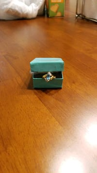 Gemstone Ring, gold plated,  size 8