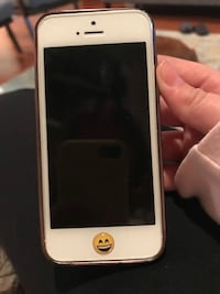 Silver iPhone 5 with red glitter bunny ears phone case and emoji sticker on home button San Ramon, 94582
