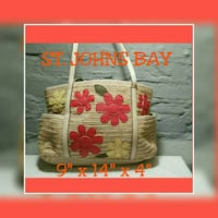 brown and red floral handbag