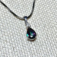Vintage Sterling Silver Tourmaline Pendant with Sterling Rope Chain Ashburn