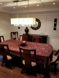 rectangular brown wooden table with six chairs din Brampton, L6S 3H9