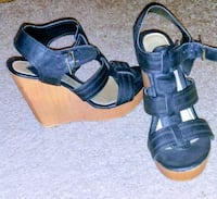 pair of black leather open-toe ankle strap wedges Marriott-Slaterville, 84404