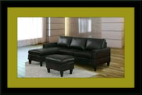 black leather sectional sofa with ottoman Fairfax