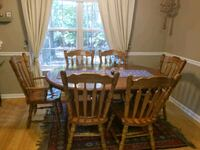 rectangular brown wooden table with six chairs dining set Athens, 30605