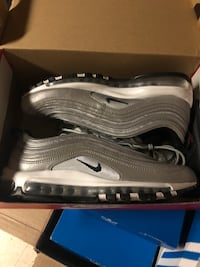 pair of gray Nike Air Max shoes with box 44 mi