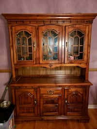 brown wooden china cabinet with glass Edmonton, T5T 2H1