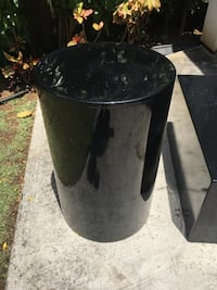 """Black Coffee table hard surface with cylinder end table. Is 32"""" x 32"""" x 16"""". Cylinder is 18"""" diameter by 28"""" tall 4802 mi"""