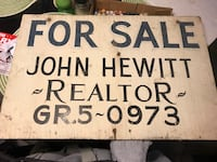 Antique Hand Painted Wooden John Hewitt Realtor For Sale Sign  Lowell, 01851