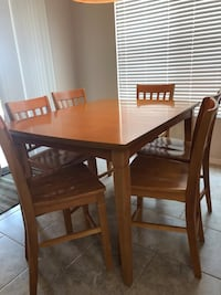 rectangular brown wooden table with four chairs dining set Phoenix, 85085