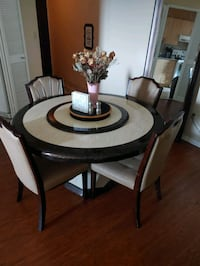 Marble dinning table with six chairs Mississauga, L5N 2P2