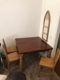 rectangular brown wooden table with four chairs dining set Milton, 30004