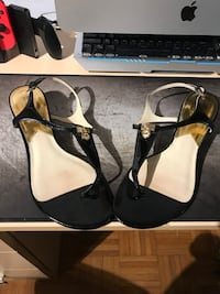 Pair of black leather open-toe ankle Michael kors heels. Toronto, M2R