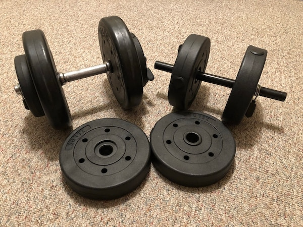 two black weight plates and two dumbbells