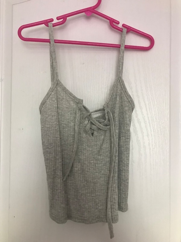 women's grey ribbed lace up tank top