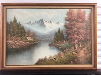 brown wooden framed painting of river New York, 11421