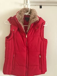 red and brown fur hooded zip-up vest