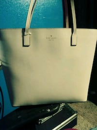 white and blue Kate Spade leather tote bag 1404 mi