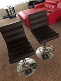 Two brown leather padded bar stools Los Angeles, 91304