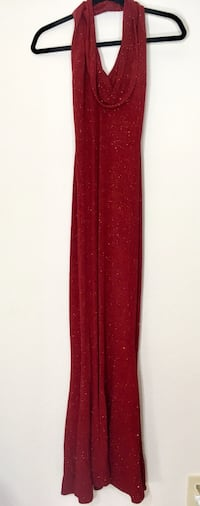 Red shimmery halter special events dress Houston, 77018