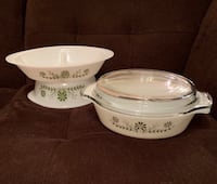 3 Vintage Glasbake Dishes—Milk Glass with Green flowers