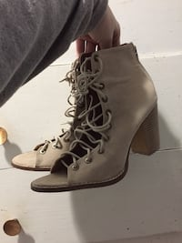 pair of women's brown suede open-toe stack heeled booties Armstrong, V0E 1B4