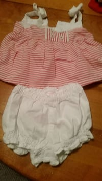 baby girl's red-and-white striped sleeveless dress with panty