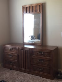 Vintage Dresser with mirror and chest 2-pc. Vintage chestnut wooden dresser with mirror and matching chest-of-drawer. MPU in Portland.-of-drawers Portland, 78374