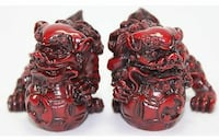 Set of two red foo dogs