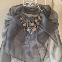 Lovely silver wrap for those chilly spring nights!  Shown with beautiful silver and pink necklace $5 Gaithersburg, 20878